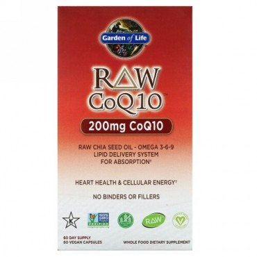 Garden of Life, Raw CoQ10(未加工コエンザイムQ10)、200mg、ビーガンカプセル60粒