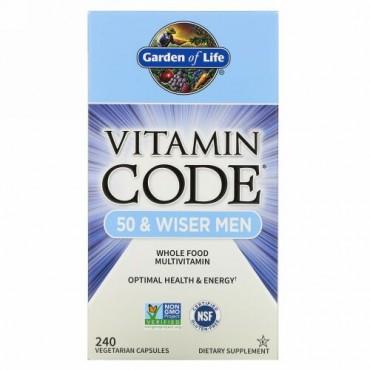 Garden of Life, Vitamin Code(ビタミンコード)、50歳以上の男性用、ベジカプセル240粒