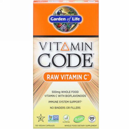 Garden of Life, Vitamin Code(ビタミンコード)、未加工ビタミンC、500mg、ビーガンカプセル120粒