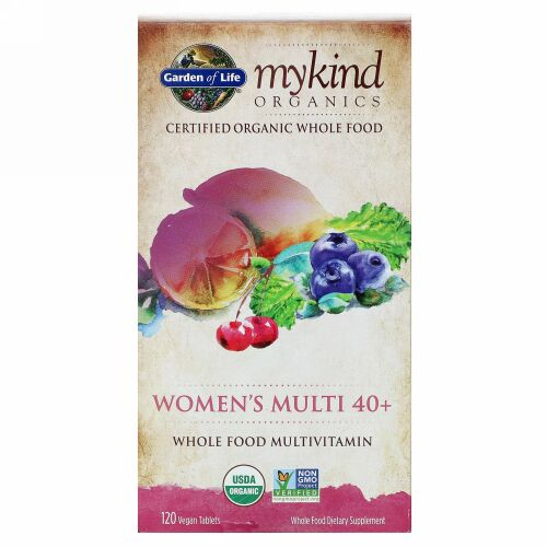 Garden of Life, 40代からの女性用マルチ、自然食品マルチビタミン、ビーガンタブレット120粒