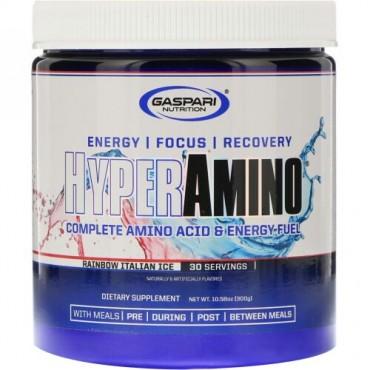 Gaspari Nutrition, HYPERAMINO, Complete Amino Acid & Energy Fuel, Rainbow Italian Ice, 10.58 oz (300 g) (Discontinued Item)