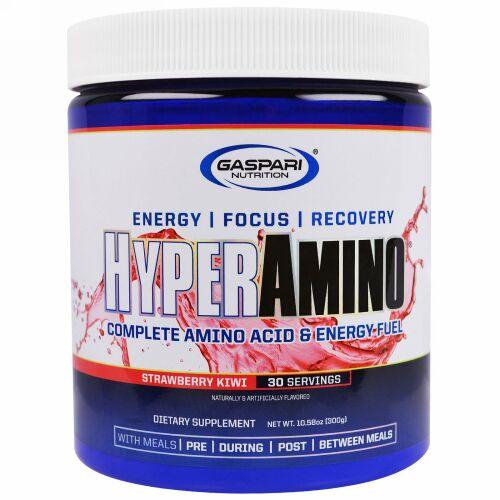 Gaspari Nutrition, HyperAmino(ハイパーアミノ)、コンプリートアミノ酸&エネルギーフューエル、ストロベリーキウイ、300g(10.58オンス)
