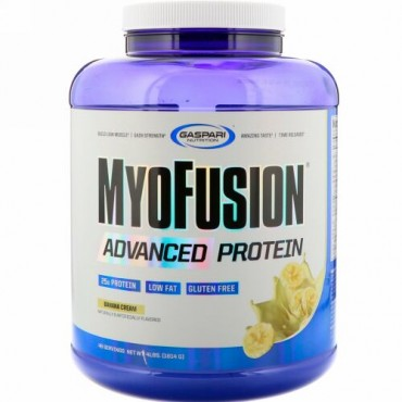 Gaspari Nutrition, MyoFusion、アドバンスドプロテイン、バナナクリーム、1814g(4 lbs)