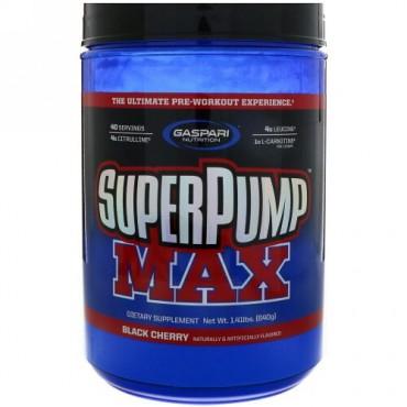 Gaspari Nutrition, スーパー・パンプマックス、究極のプレワークアウト体験、ブラックチェリー、1.41ポンド(640g) (Discontinued Item)
