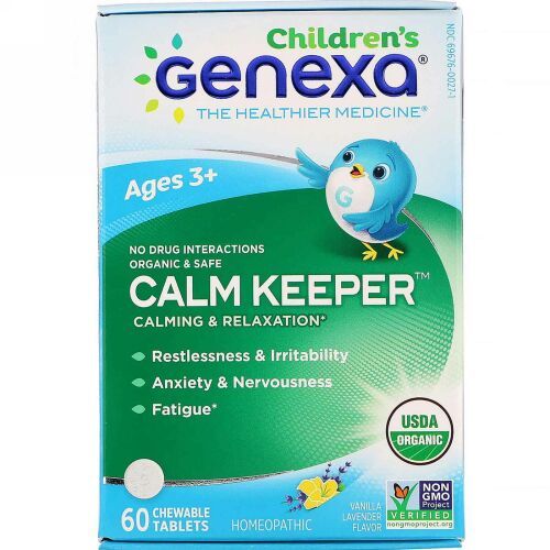 Genexa, Calm Keeper, Calming & Relaxation, Vanilla Lavender Flavor, Ages 3+, 60 Chewable Tablets
