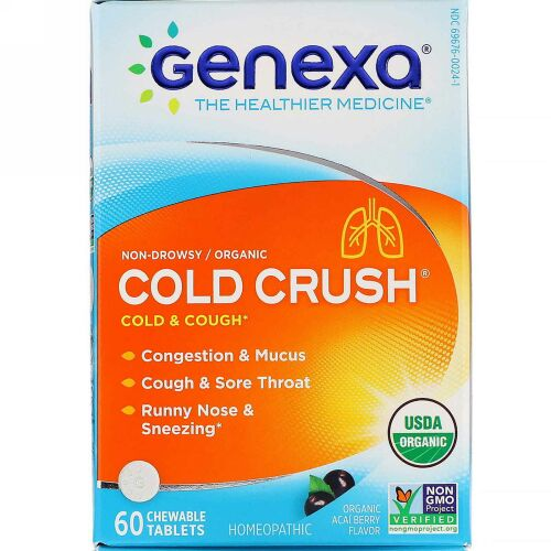 Genexa, Cold Crush, Cold & Cough, Organic Acai Berry Flavor, 60 Chewable Tablets