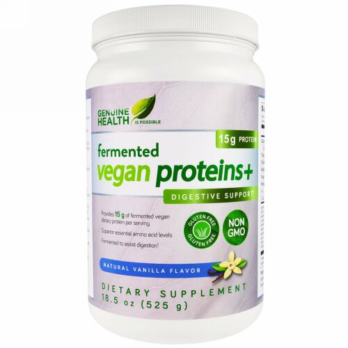 Genuine Health, 発酵ビーガンプロテイン+、消化サポート、天然バニラ風味、18.5オンス(525g) (Discontinued Item)