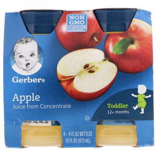 Gerber, アップル ジュース、幼児、12か月から、4パック、各4 fl oz (118 ml) (Discontinued Item)