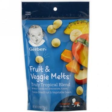 Gerber, グラデュエイツ、Fruit & Veggie Melts(フルーツ&ベジメルツ)、本物のトロピカルブレンド、生後8か月以上のハイハイ期、28g(1.0オンス)