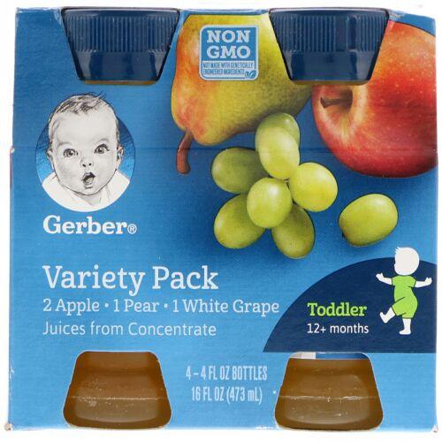 Gerber, Variety Juice Pack,  12+ Months, 4 Pack, 4 fl oz (118 ml) Each (Discontinued Item)