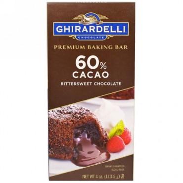 Ghirardelli, プレミアムベーキングバー, 60%カカオビタースイートチョコレート, 4オンス (113.5 g) (Discontinued Item)