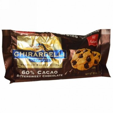 Ghirardelli, Ghirardelli、プレミアムベーキングチップス、ココア60%ビタースイートチョコレート、10 oz (283 g) (Discontinued Item)