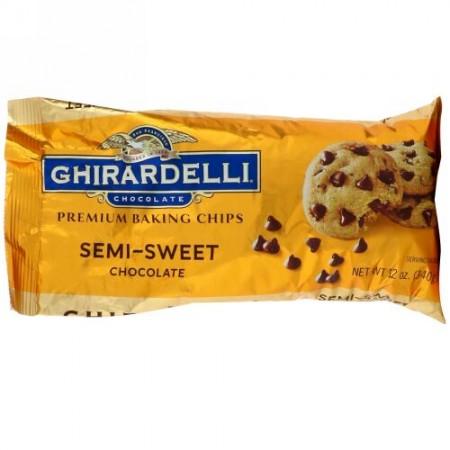 Ghirardelli, プレミアム ベーキング チップス,  セミスイートチョコレート, 12 oz (340 g) (Discontinued Item)