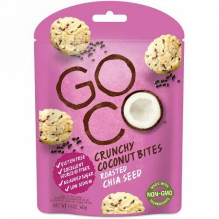 GoCo, クランチーココナッツバイツ、ロースト・チアシード、1.4オンス (40 g) (Discontinued Item)