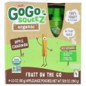 GoGo SqueeZ, オーガニックアップルソース、アップルシナモン、4ポーチ、各3.2オンス (90 g) (Discontinued Item)