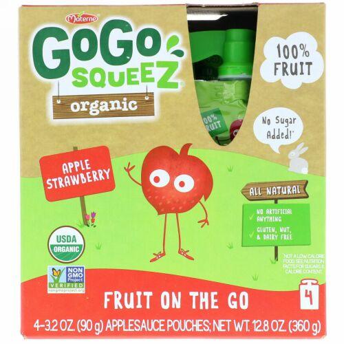 GoGo SqueeZ, オーガニックアップルソース、アップルストロベリー、4ポーチ、各3.2オンス (90 g) (Discontinued Item)