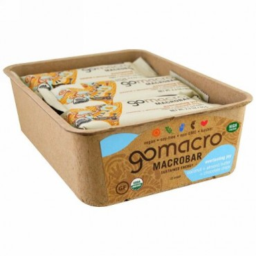 GoMacro, マクロバー、エバーラスティング ジョイ、ココナツ + アーモンドバター + チョコレートチップ、12本、各2.3 oz (65 g) (Discontinued Item)