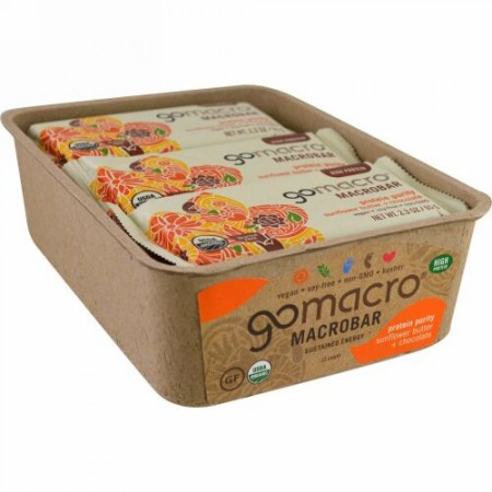 GoMacro, Macrobar, Protein Purity, Sunflower Butter+ Chocolate, 12 bars (2.3 oz each) (Discontinued Item)