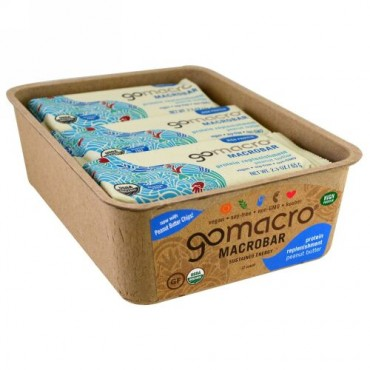GoMacro, Macrobar, Protein Replenishment, Peanut Butter, 12 bars (2.3 oz each) (Discontinued Item)