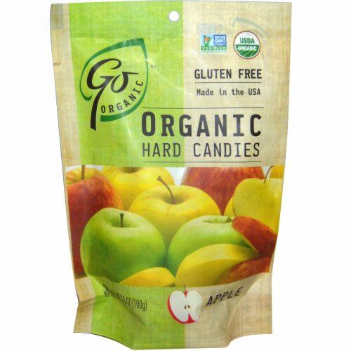 GoOrganic, オーガニックハードキャンディ、 アップル、 3.5 oz (100 g) (Discontinued Item)
