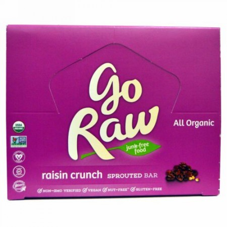 Go Raw, オーガニック 発芽バー、 レーズンクランチ、 10 バー、 各14 g (Discontinued Item)