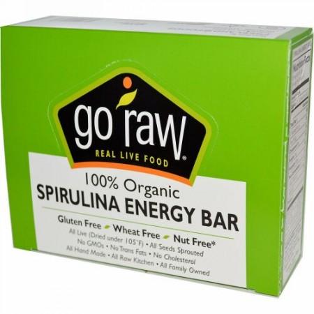 Go Raw, オーガニック スピルリナ エナジー バー, 10 本, 14 g Each (Discontinued Item)