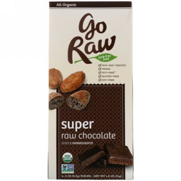 Go Raw, Organic, Super Raw Chocolate, 6 Pieces, .3 oz (8.5 g) Each (Discontinued Item)