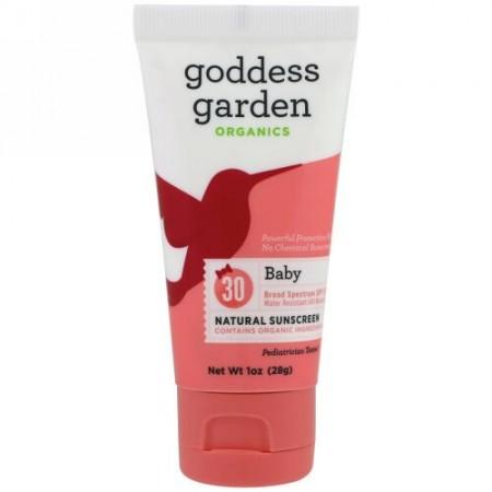 Goddess Garden, オーガニック、ナチュラルサンスクリーン、ベビー、SPF 30、1オンス (28 g) (Discontinued Item)
