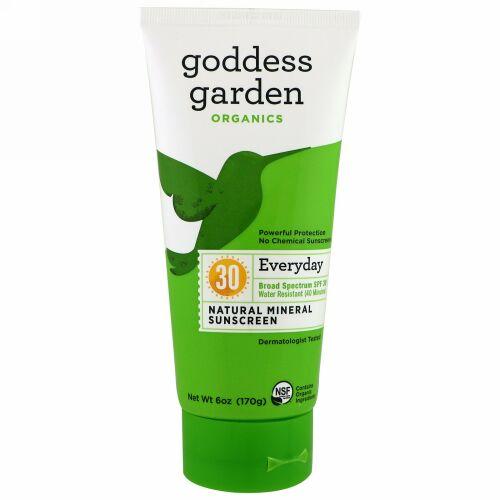 Goddess Garden, オーガニック、エブリデイナチュラルミネラルサンスクリーン、SPF 30、6オンス (170 ml) (Discontinued Item)