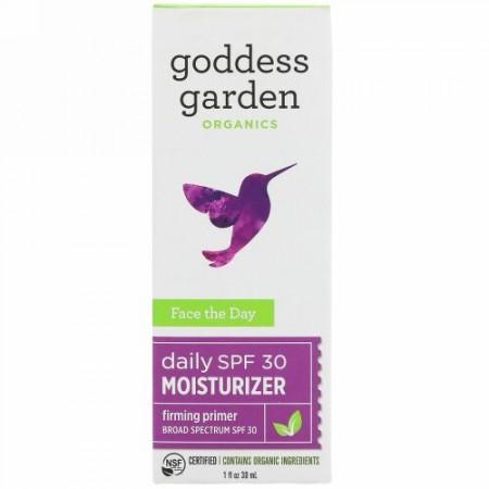 Goddess Garden, オーガニック、フェイスザデイ、デイリーモイスチャライザー、ファーミングプライマー、SPF 30、1液体オンス(30 ml) (Discontinued Item)