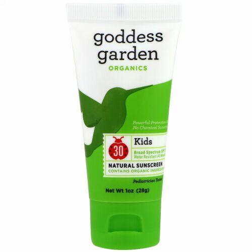 Goddess Garden, オーガニック、キッズ、ナチュラルサンスクリーン、SPF 30,1オンス(28 g) (Discontinued Item)