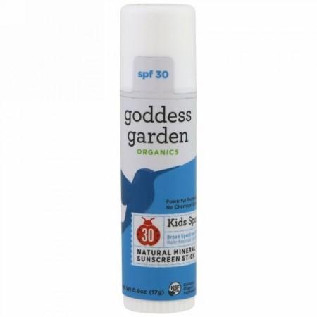 Goddess Garden, オーガニック、 天然ミネラル日焼け止めスティック、 キッズスポーツ、 SPF30、0.6 oz (17 g) (Discontinued Item)