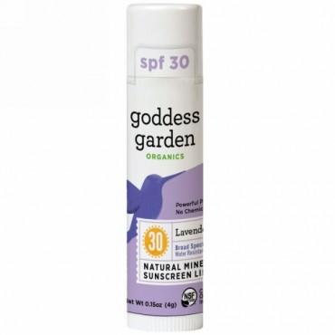 Goddess Garden, オーガニック, 天然ミネラル日焼け止めリップバーム, SPF 30, ラベンダーミント, 0.15 oz (4 g) (Discontinued Item)