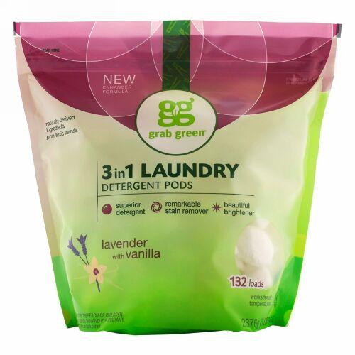 Grab Green, 3イン1洗濯洗剤ポッド, ラベンダー, 132ロード, 5ポンド4オンス(2,376 g)