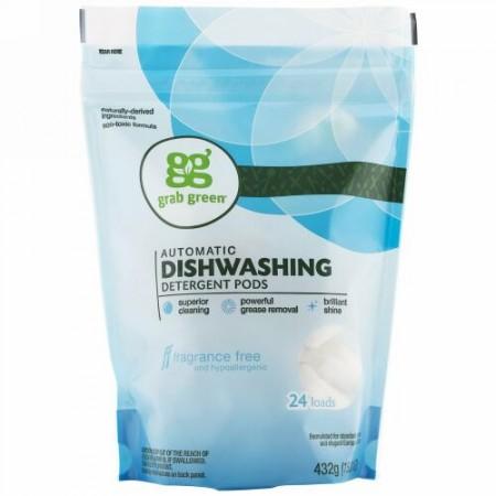 Grab Green, 自動食器洗い機洗剤ポッド, 無香料, 24ロード分, 15.2オンス(432 g)