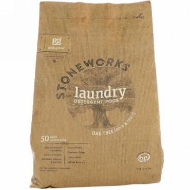 Grab Green, Stoneworks、ランドリーディタージェントポッド(洗濯洗剤)、オーク、50回量、1.65 lbs (750 g)