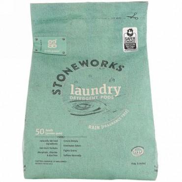Grab Green, Stoneworks、ランドリーディタージェントポッド(洗濯洗剤)、レイン、50回量、1.65 lbs (750 g)