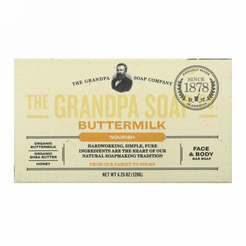 Grandpa's, フェイス&ボディーバーソープ、ナリッシュ、バターミルク、4.25オンス(120g)