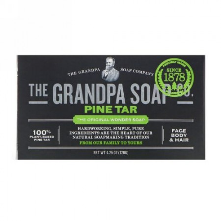Grandpa's, フェイス、ボディ&ヘア固形ソープ、松ヤニ、4.25 oz (120 g)
