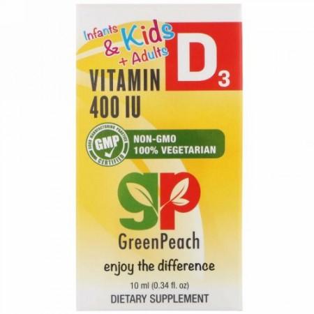 GreenPeach, Infants & Kids + Adults, Vitamin D3, 400 IU, 0.34 fl oz (10 ml)