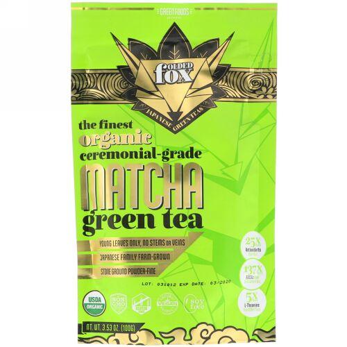 Green Foods, フォールデッドフォックス、オーガニック抹茶、3.53オンス (100 g) (Discontinued Item)