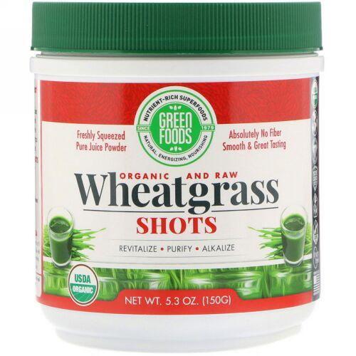 Green Foods, オーガニック&ロー、ウィートグラスショット、150g(5.3oz)
