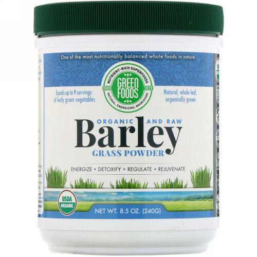Green Foods, オーガニックで未加工、大麦若葉パウダー、8.5オンス (240 g) (Discontinued Item)