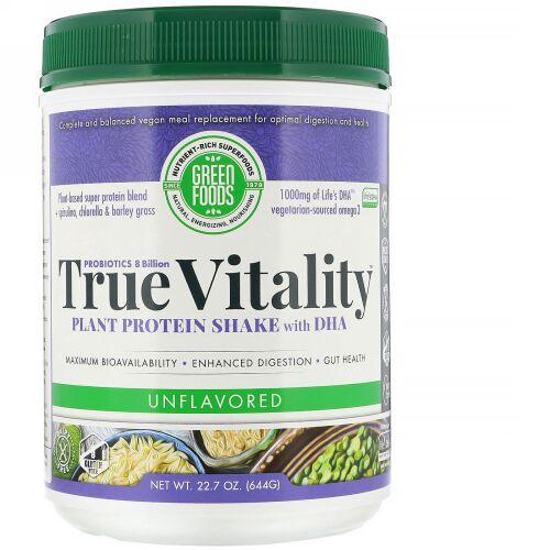 Green Foods, True Vitality、プラント・プロテイン・シェイク、 DHA配合、味付け無し、22.7 oz (644 g) (Discontinued Item)