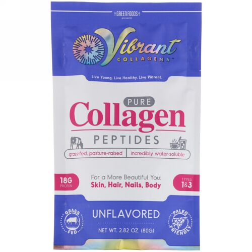Green Foods, Vibrant Collagens, Pure Collagen Peptides, Unflavored, 2.82 oz (80 g) (Discontinued Item)