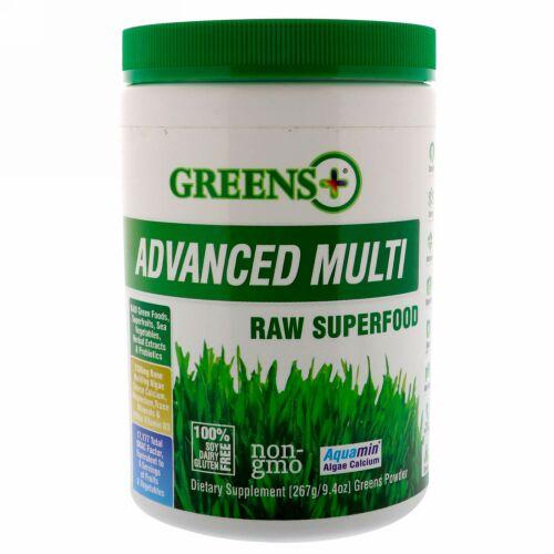 Greens Plus, アドバンスド・マルチ・ロー・スーパーフード, 9.4 オンス  (276 g) 青野菜パウダー