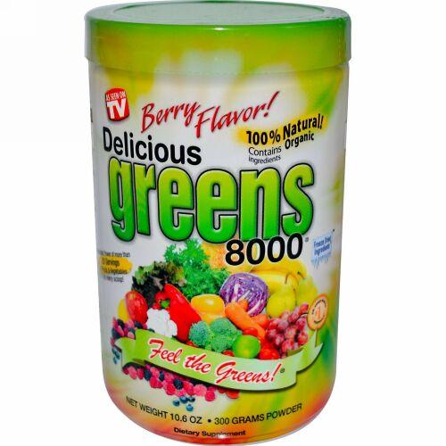 Greens World, Delicious Greens 8000、ベリー味、10.6 オンス (300 g)