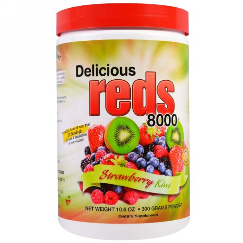 Greens World, Delicious Reds 8000、ストロベリー・キウイ、 10.6オンス (300 g)