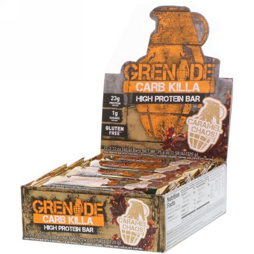 Grenade, Carb Killa, High Protein Bar, Caramel Chaos, 12 Bars, 2.12 oz (60 g) Each