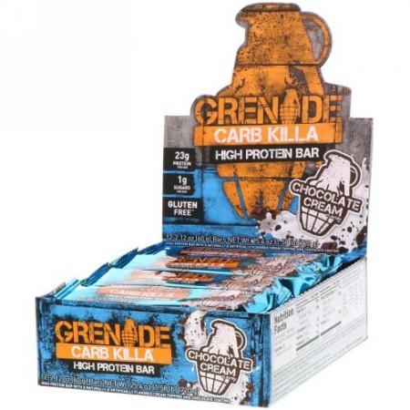 Grenade, Carb Killa, High Protein Bar, Chocolate Cream, 12 Bars, 2.12 oz (60 g) Each